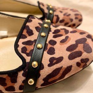 Studded leopard print flats